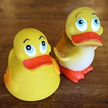 The Original Rubber Duck. Made in Spain of natural latex, an all-natural material harvested from renewable rubber trees. The latex and the paints used to make these ducks are non-toxic and free of harmful chemicals. So no worries if this becomes a lil' guys favourite chew toy!