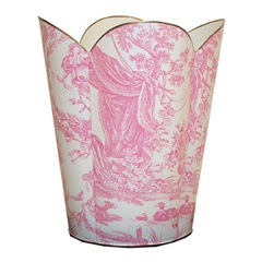Pink Toile Fluted Decoupage Wastebasket -- for the laundry room