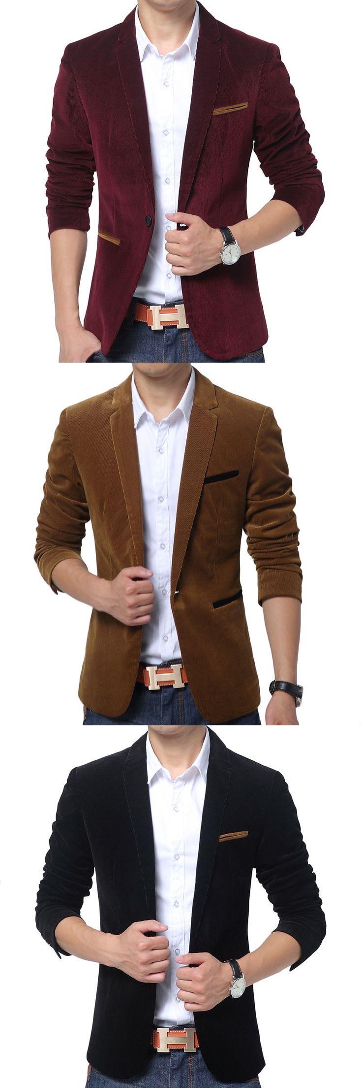 New Red Blazer Men 2017 Autumn Winter Fashion Mens Slim Fit Blazer Jacket Casual Brand Single Button Wedding Suit Jacket 3Xl