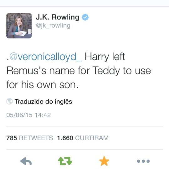 J.K.Rowling´s tweet->>>>> thank you many times JK <3 so many people were criticizing Harry's decision to call one of his sons in Severus' honor, telling it's unjust and he had to call him Remus instead, that Snape didn't deserve it. I don't agree with it at all, so gratefull JK cleared it up for them.