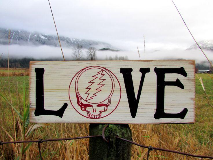 Barn Wood Grateful Dead Sign - Grateful Dead Wall Art - Grateful Dead Wedding - Dead Head Sign - Barn Wood Love Sign by NumbskullSigns on Etsy