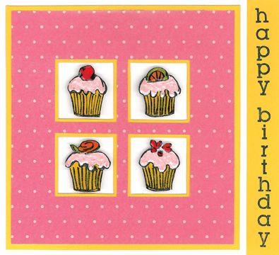 Stamp-it Australia: 4232E Row of Cupcakes, 4333D Birthday Down - Card by Deanna