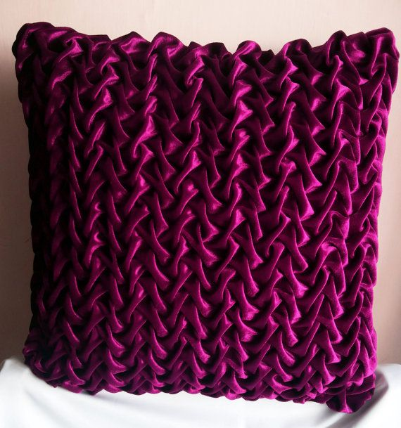 20x20 Velvet Magenta Decorative Throw Pillow Textured Pillow with Canadian Smocking Cushion ...