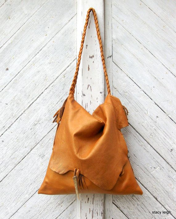 RESERVED for Cristy Rustic Leather Bag with Deer by stacyleigh, $165.00