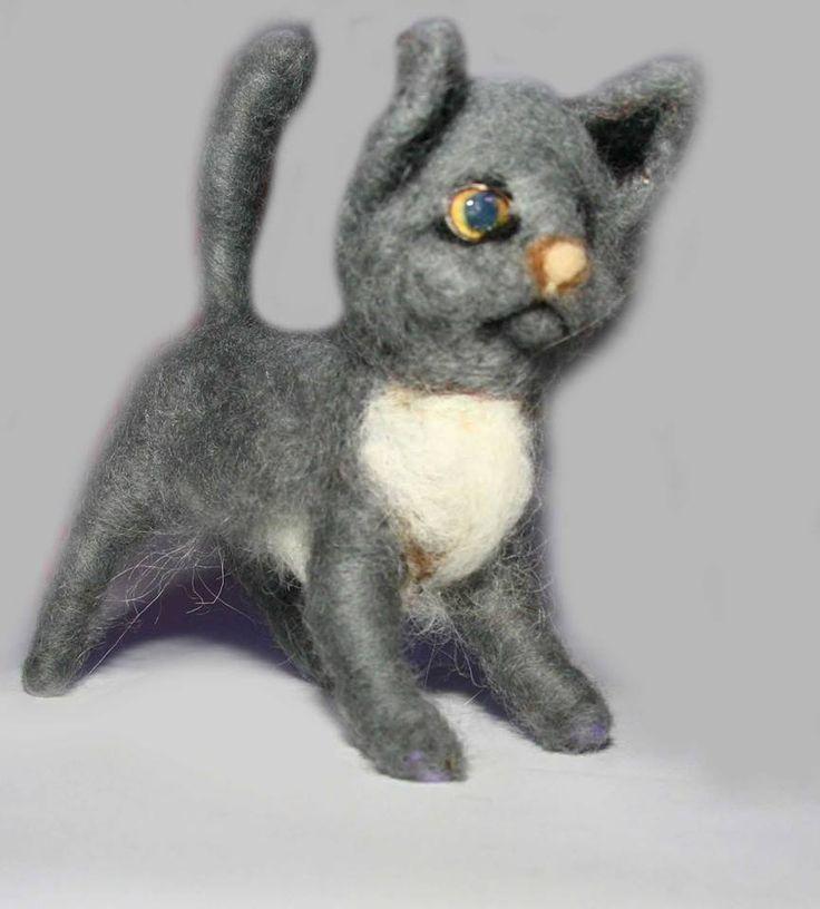 sweet Cat Kitten needle felted miniature beautiful animal toys  handmade #3 | eBay