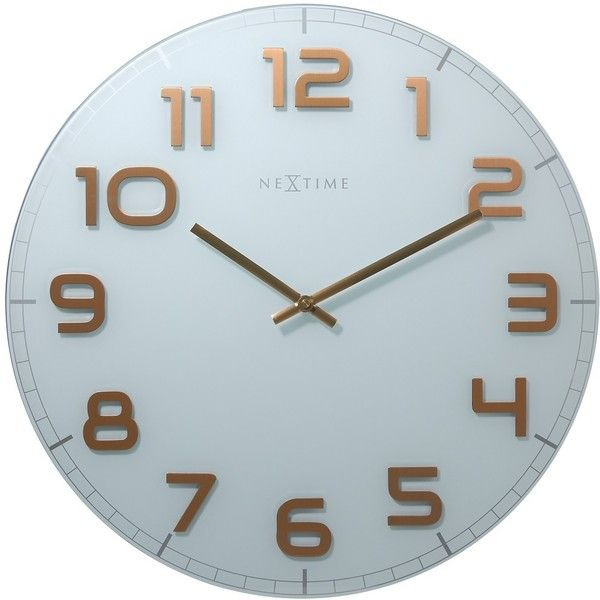 NeXtime Classy Large White & Copper Wall Clock (740 CNY) ❤ liked on Polyvore featuring home, home decor, clocks, white clock, white wall clock, nextime wall clock, white home decor and nextime