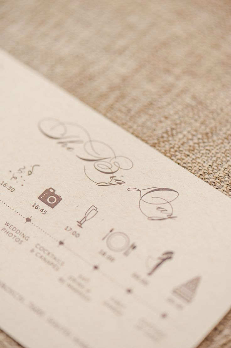 This is a nice idea to add the order of events to your invitation set or ceremony programme.