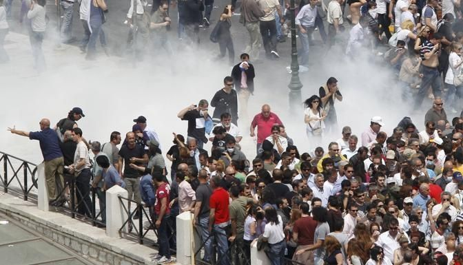 Syntagma square Athens, 5/5/2010, thousand of people in gas.......
