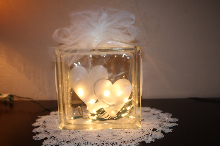 Bridal or Valentine Hearts Etched Glass Cube. $40.00, via Etsy.