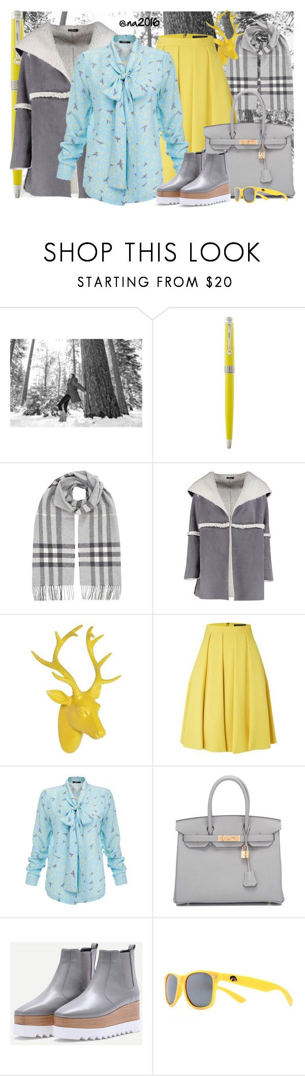 """Gray !"" by menina-ana ❤ liked on Polyvore featuring SOREL, Montegrappa, Burberry, Boohoo, French Connection, Raoul, Hermès and Society43"