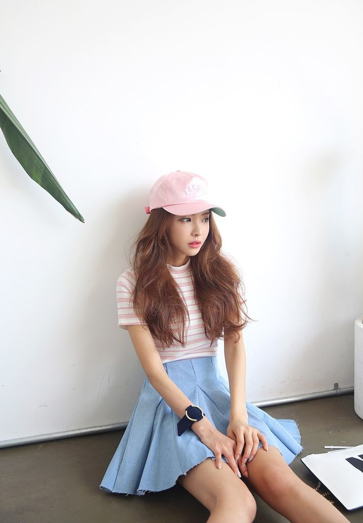 korean fashion skirt blue pastel pink pale shirt