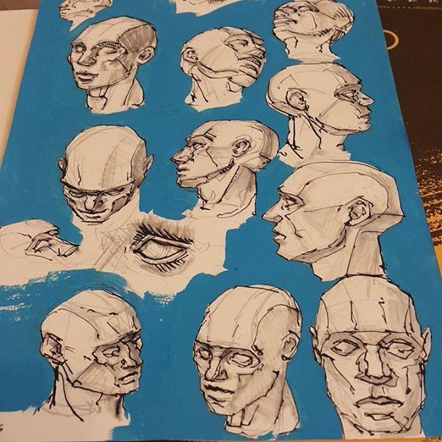 Daily practice #planesofthehead #head #study #blue #planes #paint #ink #pencil #marker sbelicki belicki