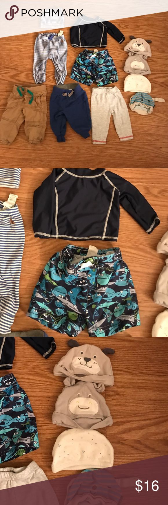 11 piece lot of 3-6 month baby boy clothing Various brands.  No rips or stains but some have been used more than others. check out my other baby listings as well. 4 pants, 5 hats, and a swimming suit set. Old Navy Other