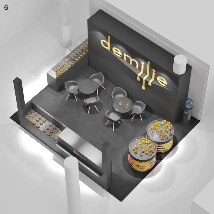 Компания «Демилье» производит крем-мед сомножеством вкусов ипродает его вкрасивых упаковках. Для выставки «Продэкспо-2017» встудии разработан стенд, привлекающий внимание посетителей кпродукции.