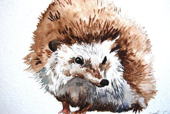 Watercolor Painting Hedgehog Study Original Painting by WoodPigeon