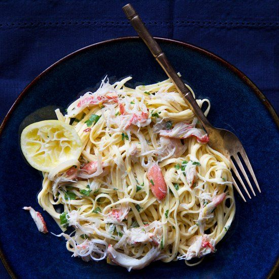 Meyer lemons pair beautifully with Dungeness crab. Both are in season right now, and they come together fragrantly in this pasta dish.