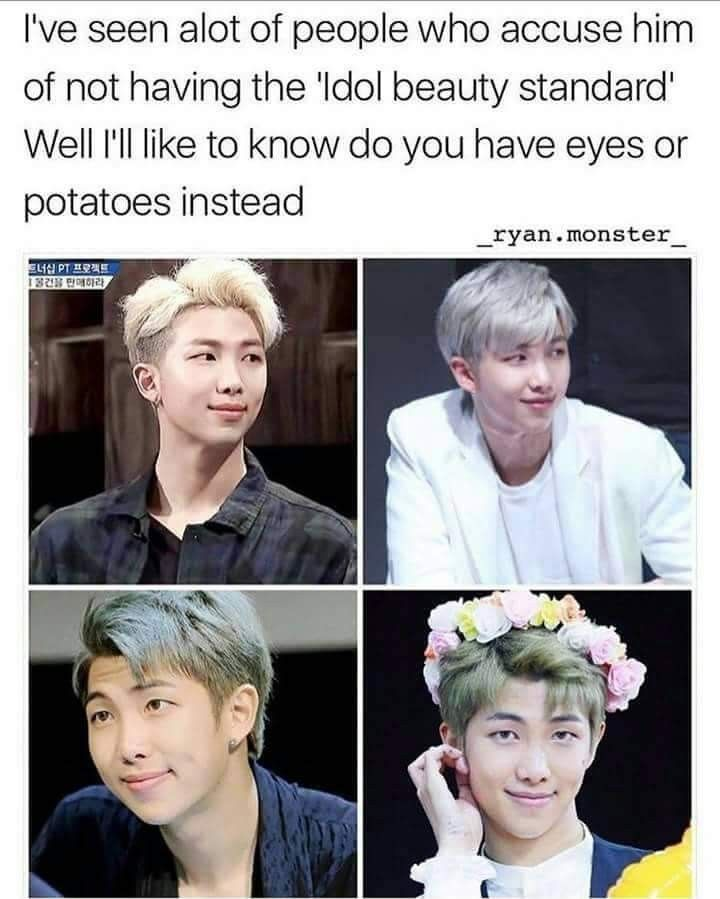 My Bias Is Too Beautiful For This Earth And Ppl Say He Doesn T Fit Idol Beauty Standards Bts Boys Namjoon Bts Funny