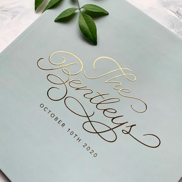 creme-Green Guestbook for wedding wedding guestbook Mr and Mrs