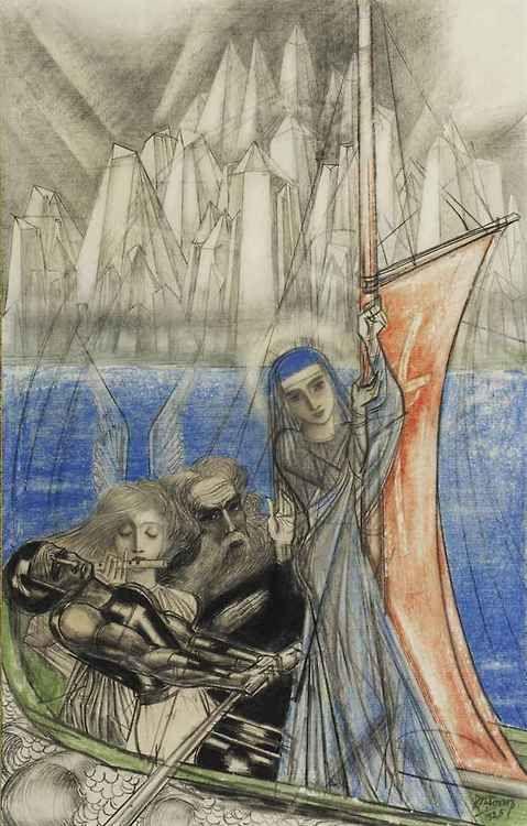 Jan Toorop (Dutch, 1858-1928), De Levensreis van de Kunstenaar [The life journey of the artist], 1925. Pencil, chalk and wax crayons on paper, 35 x 22 cm.