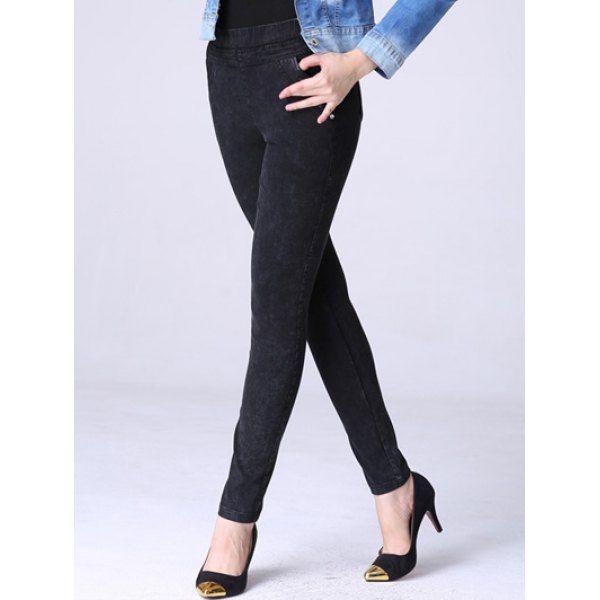 Elastic Waist Fleece Denim Pencil Pants 17.90 USD