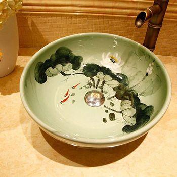 Chinese Painting Art Round Porcelain Lotus Pool Green Ceramic Vessel Sink Vanities