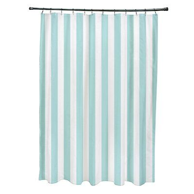 e by design Striped Shower Curtain Color: Ocean