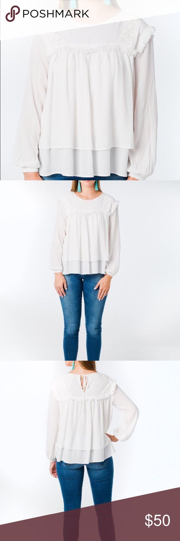 English Factory Fringe Blouse Breezy, crisp white blouse with fringe and lace accents. Fits true to size. Perfect for any season! English Factory Tops Blouses