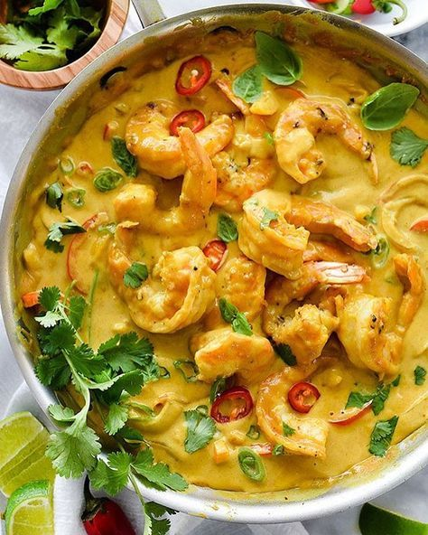 Shrimp In Thai Coconut Sauce by @foodiecrush  Check out @foodiecrush  SERVES: SERVES 4  Ingredients 1 pound jumbo shrimp, shell and tail on 4 tablespoons vegetable oil, divided 2 gloves garlic, minced or pressed ¼ teaspoon kosher salt ¼ teaspoon red chili flakes ½ onion, peeled and sliced ½ red bell pepper, seeded and sliced ½ orange bell pepper, seeded and sliced ½ yellow bell pepper, seeded and sliced 1 cup coconut milk 4-6 tablespoons high quality fish sauce (start with 4 tablespoons and…