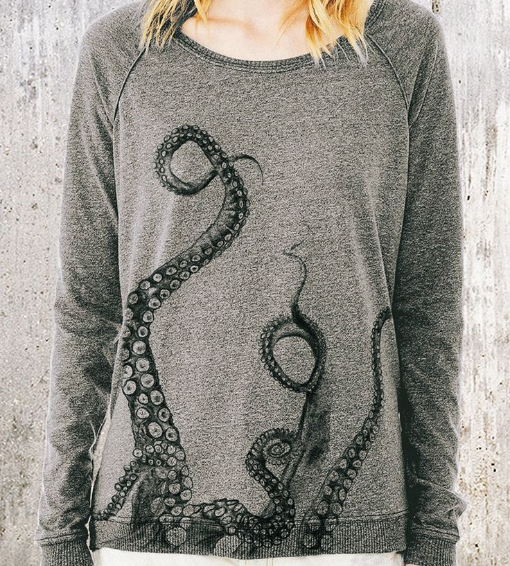 Women's Octopus Tentacles Pullover Sweater | A creature from the deep creeps its tentacles along the bottom... | Sweatshirts