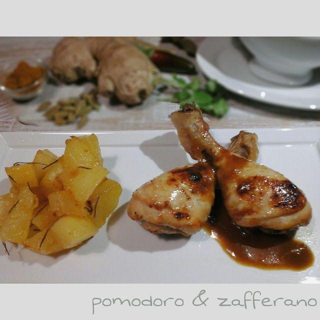 pomodoro e zafferano: Fusi di pollo speziati con glassa all'ananas e patate--