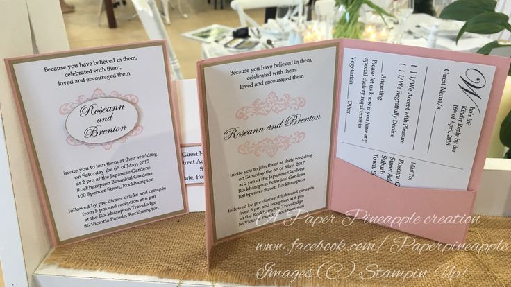 Pink and gold A6 pocket or single sided wedding invitation, with matching colour address panel. Such a romantic, pretty colour combination.