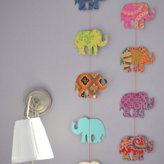 Hanging Elephant Decorations Manilla Stencils Scrapbook Paper String Or Ribbon