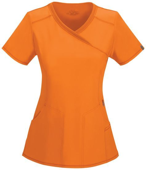 """A Contemporary fit mock wrap top features two set-in front pockets, a logo O-ring above left pocket, left scissor pocket, one interior pocket, front and back princess seams, and side vents. Stretch rib knit at the center back panel gives this top its slimming shape and allows for extra movement and comfort. Center back length: 26"""" Sizes: XS - 2XL Color: Orangeade (OAPS) Brand: Cherokee Antimicrobial technology"""