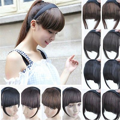 Women Girls Clip on Front Neat Bang Fringe Hair Extensions Straight