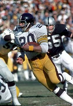 Rocky Blier of the Pittsburgh Steelers runs against a stout Oakland defense. The Steelers and Raiders were two of the league's perennial Super Bowl contenders in the 1970s.