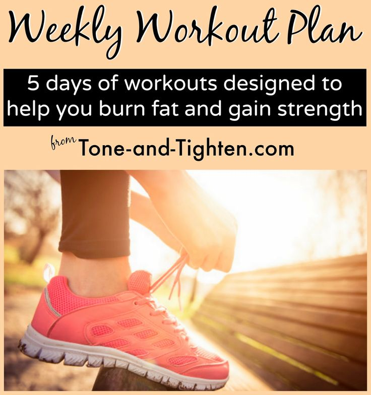 Your whole week's workouts in one convenient location! 5 workouts to shred fat and build muscle. From Tone-and-Tighten.com