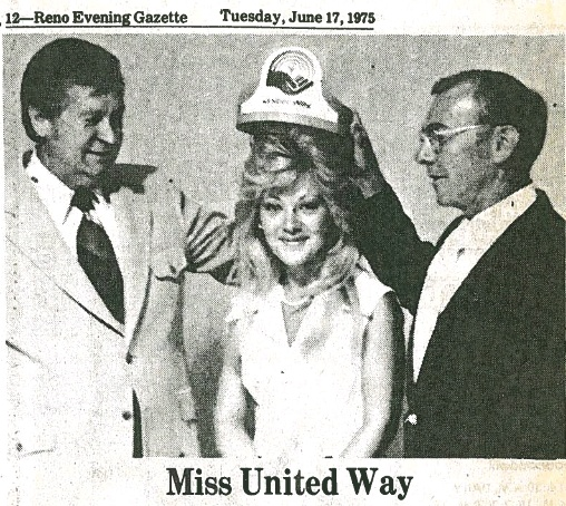 """#UWNNS #75Stories #75 Years - In 1975, Ms. La Nae Fullerton was named Miss United Way. James Hersig (left), GM KOLO-TV, Campaign Chairman and Robert Pearce. President of United Way are shown. Ms. Fullerton represented the 1975 """"People Helping People…Make a Difference"""" campaign throughout the region."""