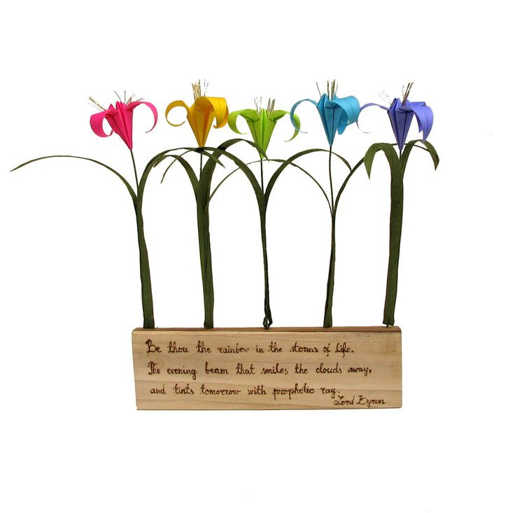 Rainbow Lord Byron Quote Rustic Natural Poplar Wood with Origami Flowers by PaperDisciple and Tanja Sova. $36.00, via Etsy.
