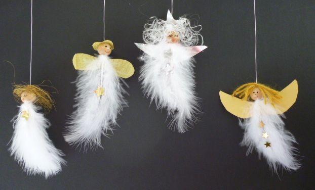 Angel made of feathers and wooden beads Engel aus Federn und Holzperlen - Weihnachten-basteln - Meine Enkel und ich - Made with schwedesign.de