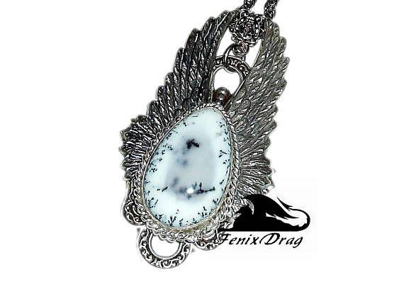 Pendant Frost white stone dendrite opal angel