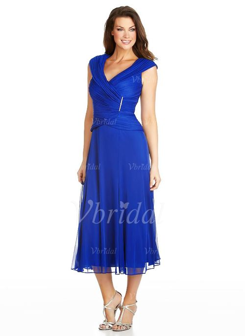 A-Line/Princess V-neck Tea-Length Ruffle 30D Chiffon Zipper Up Cap Straps Sleeveless No Royal Blue Mother of the Bride Dress