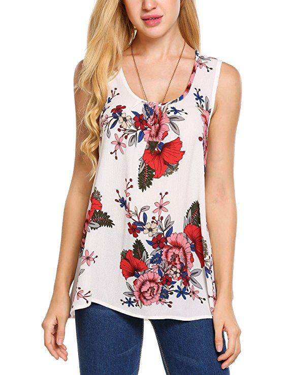 7a1eccec40ad26 Zeagoo Women s Floral Print Loose Casual Flowy Tunic Tank Top at Amazon  Women s Clothing store