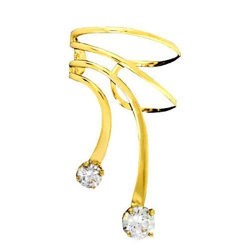Left Only Gold Vermeil Small Large Cubic Zirconia Short Wave Ear Cuff Auntie's Treasures. $39.94