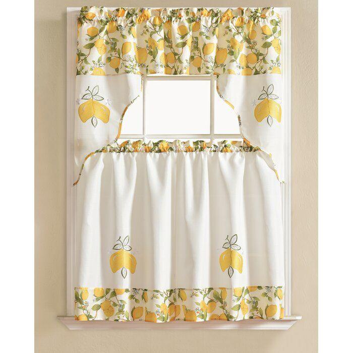 Gironde Lemon 3 Piece Kitchen Curtain Set Curtains Kitchen