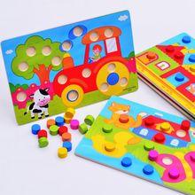1 Set Montessori Houten Tangram Jigsaw Board Educatief Vroeg Leren Cartoon Hout Puzzels Game Speelgoed voor Kinderen Kids Geschenken(China (Mainland))