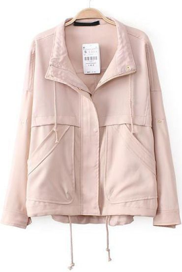 33.67 Nude Lapel Long Sleeve Loose Pockets Outerwear: