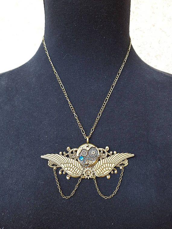 Collar Steampunk, Collar alas de Ángel, Joyería Steampunk, Collar engranajes, Colgante Steampunk, Collar Neo Victoriano, Joyería Victoriana