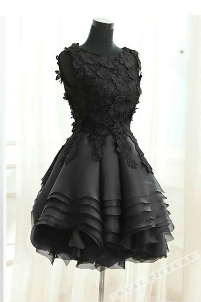 4d6125566fc Black tulle lace round neck short prom dress