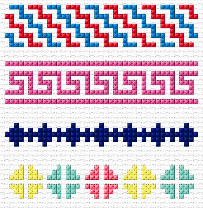 Cross Stitch | Simple Borders xstitch Chart | Design
