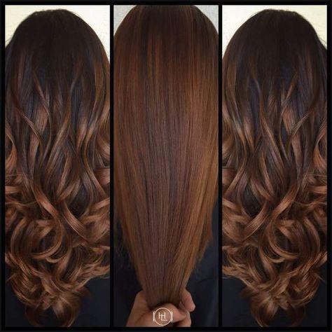 Balayage, cinnamon color , long hair . Hair by:Emilio V … | Einfache Frisuren – Esra